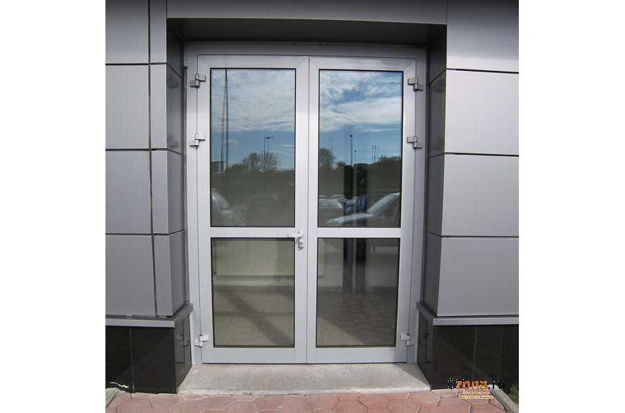 Дверь входная металлопластиковая со стеклом