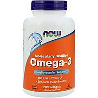 Now Foods, Омега-3, 200 мягких капсул