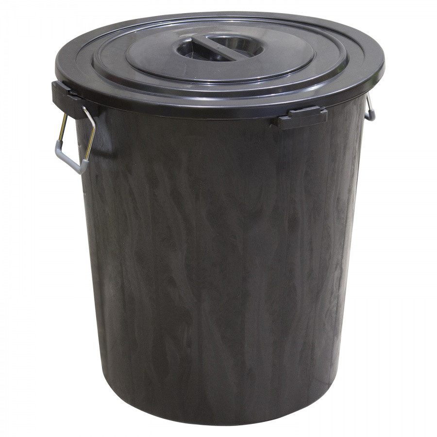 Мусорный бак с крышкой, чёрный (90 л.)