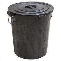 Мусорный бак с крышкой чёрный 90 л из пластика, Зета,  ZETA,