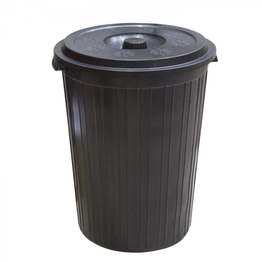 Мусорный бак с крышкой, чёрный (75 л.) из пластика