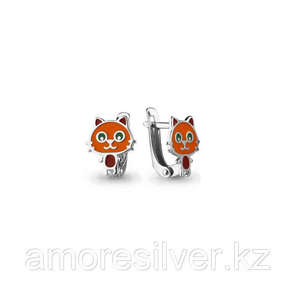 Серьги из серебра с эмалью   Аквамарин 33133