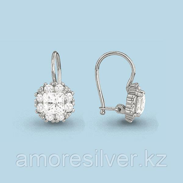Серебряные серьги с фианитом   Аквамарин 40966А