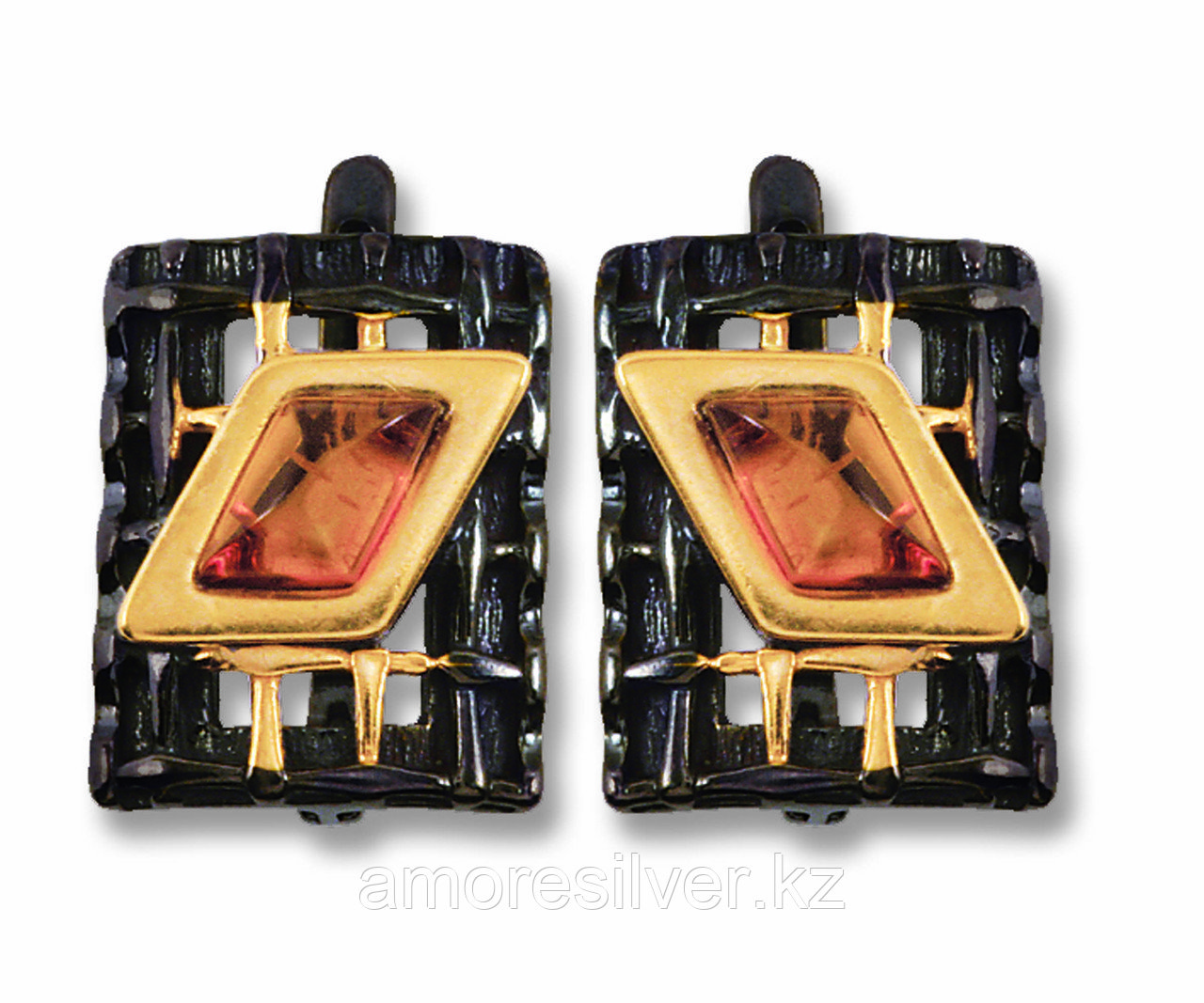 Серебряные серьги с янтарем бренд БАЛТИЙСКОЕ ЗОЛОТО необычная фактура черный родий , натуральный камень, есть комплект  72131038