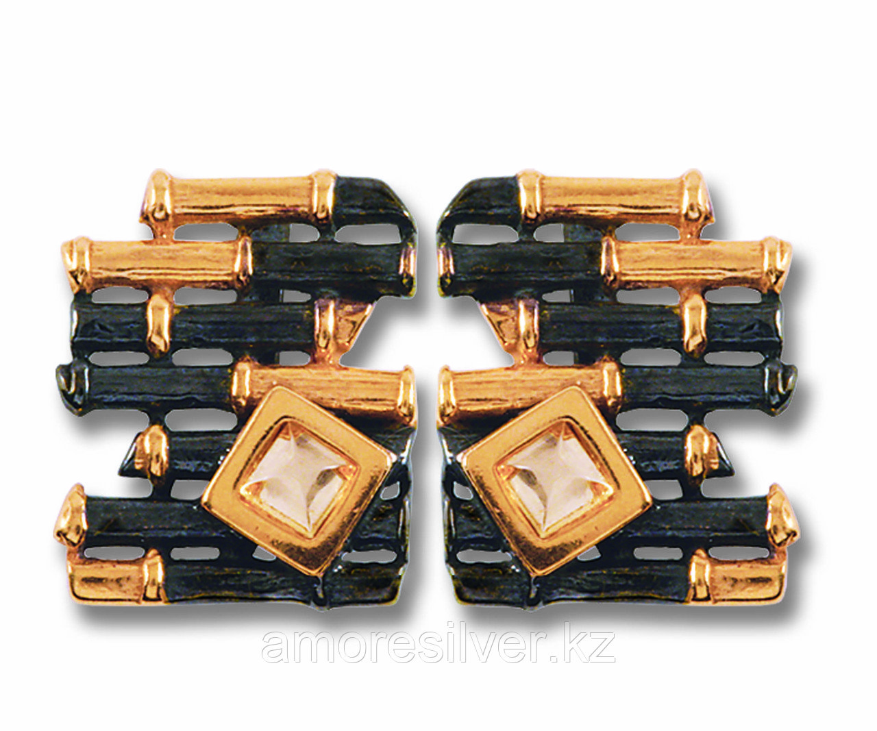 Серебряные серьги с янтарем бренд БАЛТИЙСКОЕ ЗОЛОТО необычная фактура черный родий , натуральный камень, есть комплект  72131050