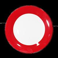 Тарелка керамическая с красной окантовкой
