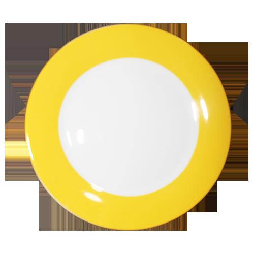 Тарелка керамическая с желтой окантовкой