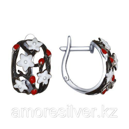Серьги из серебра с фианитом и эмалью   SOKOLOV 94022504