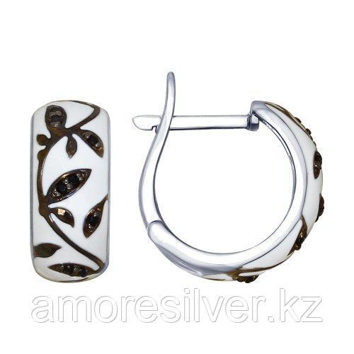 Серебряные серьги с фианитом и эмалью   SOKOLOV 94022468