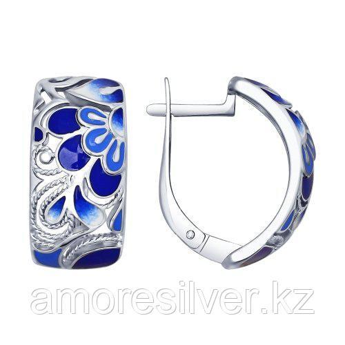 Серьги из серебра с фианитом и эмалью   SOKOLOV 94022573