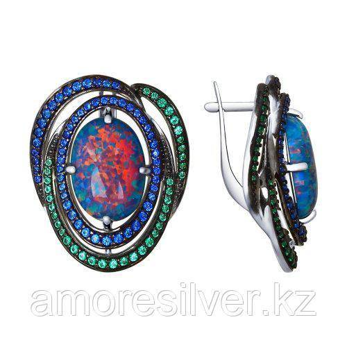 Серьги из серебра с фианитом и опалом синт.   SOKOLOV 83020043