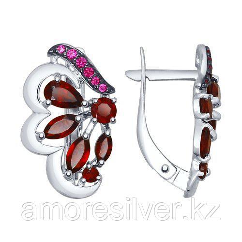 Серебряные серьги с гранатом и фианитом   SOKOLOV 92021551