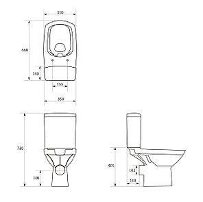 Унитаз-компакт CARINA 516NEW CLEAN ON011 3/5  с сиденьем дюропласт (плавное закрытие), фото 2