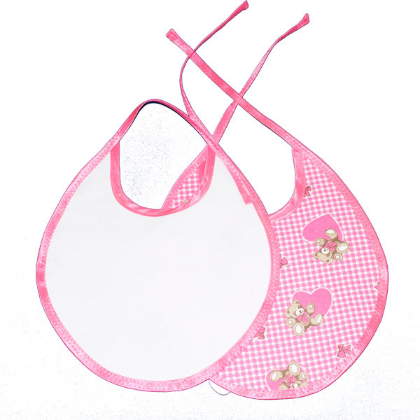 Детский слюнявчик 18*23см (растежка на завязке) Цвет: розовый