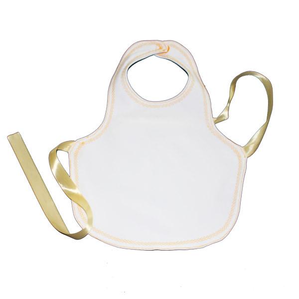 Детский фартук 45*34см (растежка на завязке) Цвет: белый с цветной окантовкой