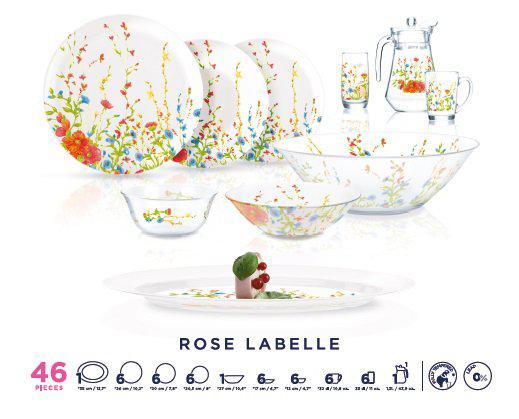 Столовый сервиз Luminarc Rose Labelle 46 предметов на 6 персон