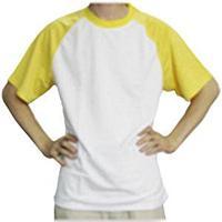 Футболка унисекс белая с желтыми рукавами. (размеры XL/2XL)