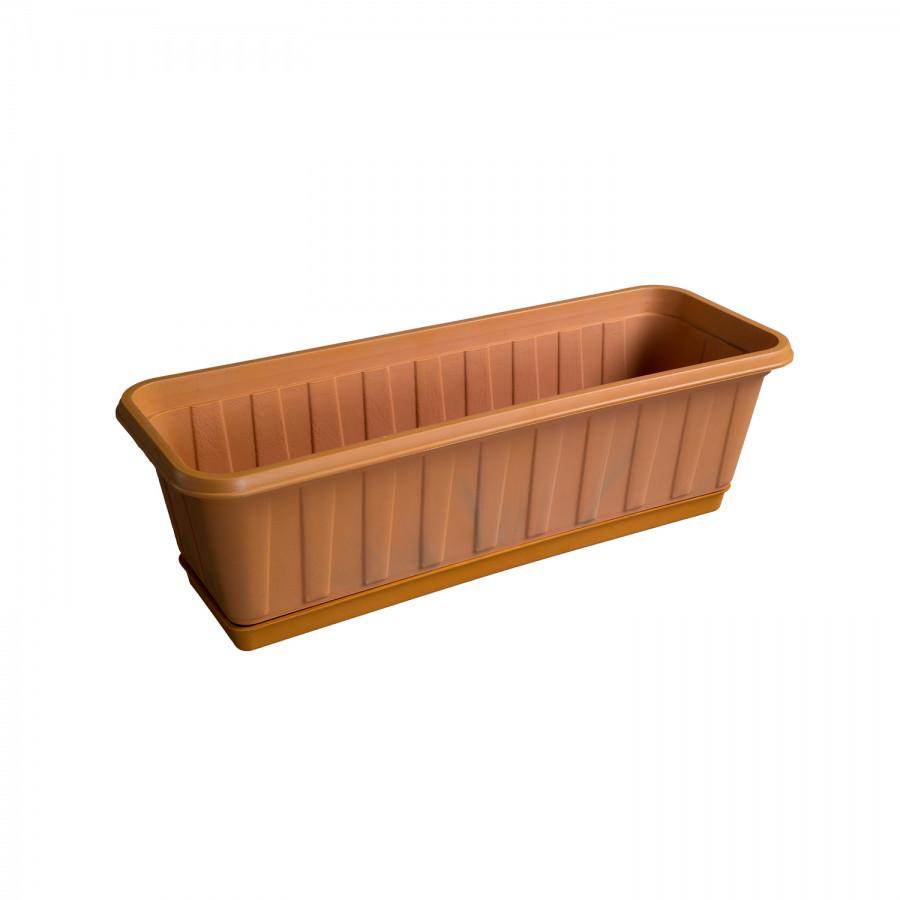 Горшок прямоугольный с подставкой (53 см) из пластика