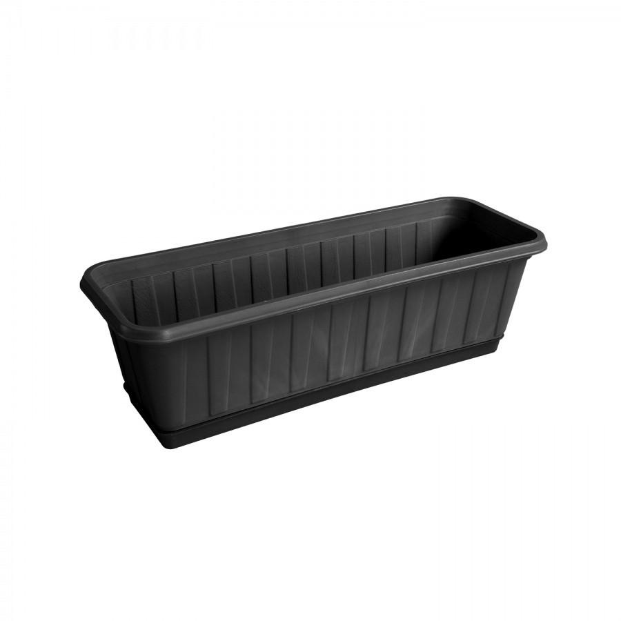 Горшок для цветов прямоугольный с поддоном чёрный 53 см из пластика, Зета,  ZETA,