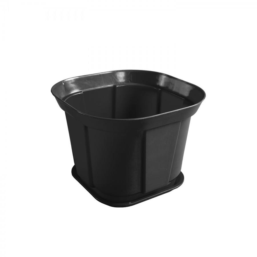 Горшок квадратный чёрный (29 см) из пластика