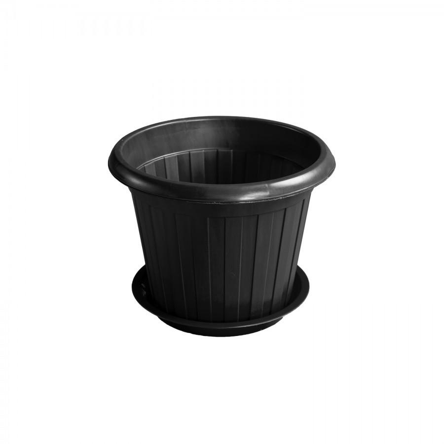 Горшок для цветов чёрный (d245) из пластика