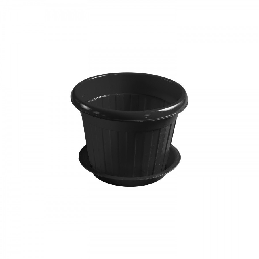 Горшок для цветов чёрный (d190)