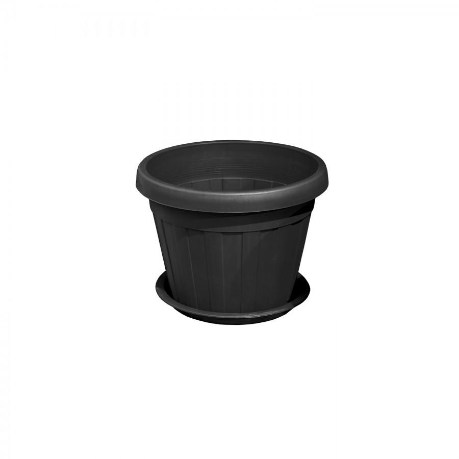 Горшок для цветов чёрный d155 из пластика, Зета,  ZETA,