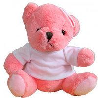 Мишка розовый плюшевый с футболкой (21*20*13см)