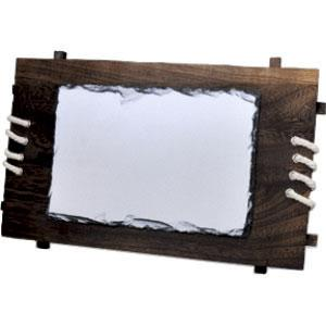 """Фотокамень """"Прямоугольник"""" деревянная рамка 28х30 см."""