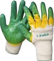 """(11459-XL) Перчатки ЗУБР """"МAСTEP"""" трикотажные,10 класс, х/б, двойная обливная ладонь из латекса,L-XL"""