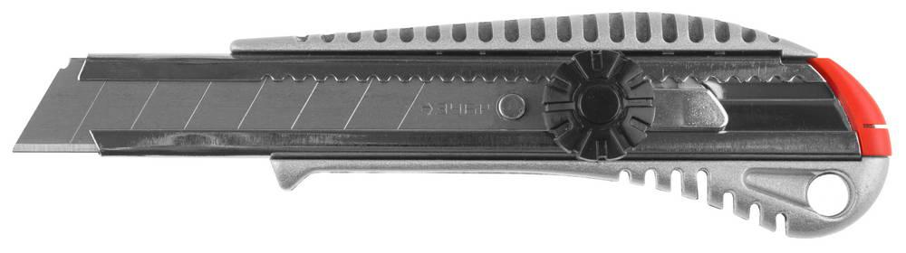 "(09172) Нож ЗУБР ""МАСТЕР"" металлический корпус, механический фиксатор, 18мм"