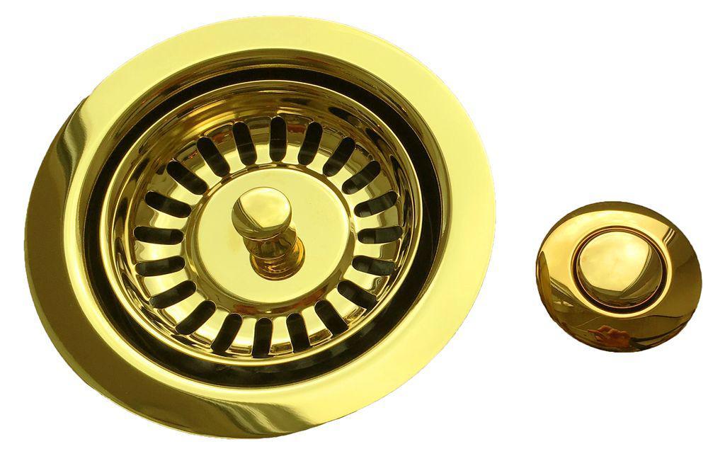 """Комплект №2  для измельчителя: фланец + кнопка в цвете """"French Gold"""""""