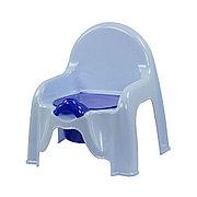 Горшок - стульчик с крышкой и со спинкой (голубой), М1326