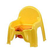 Горшок - стульчик с крышкой и со спинкой (светло-жёлтый), М1328