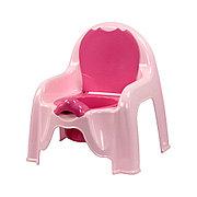 Горшок - стульчик с крышкой и со спинкой (розовый), М1528