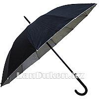 Зонт трость полуавтомат двухцветный черный/серебристый
