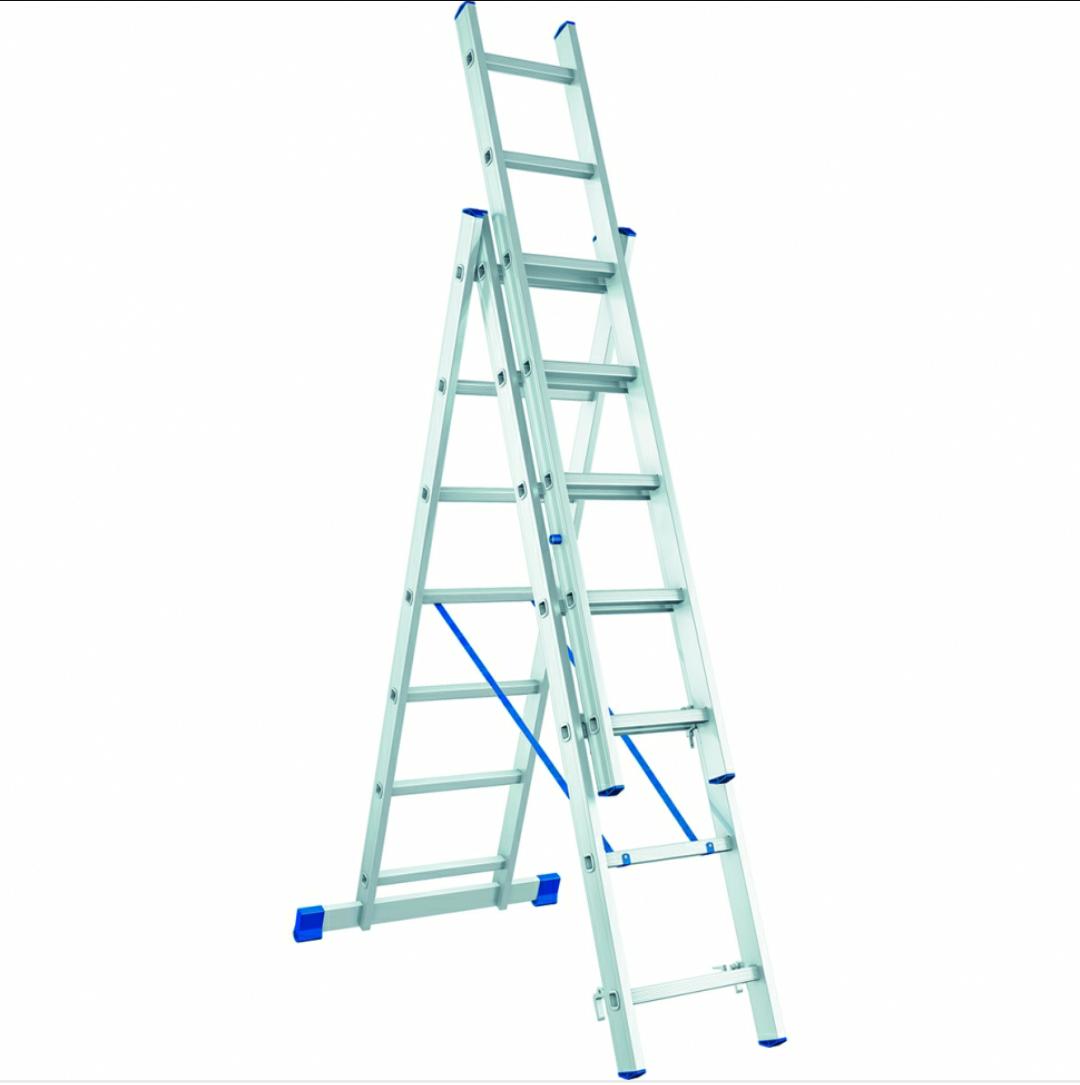 Лестница алюминиевая трехсекционная 3х9