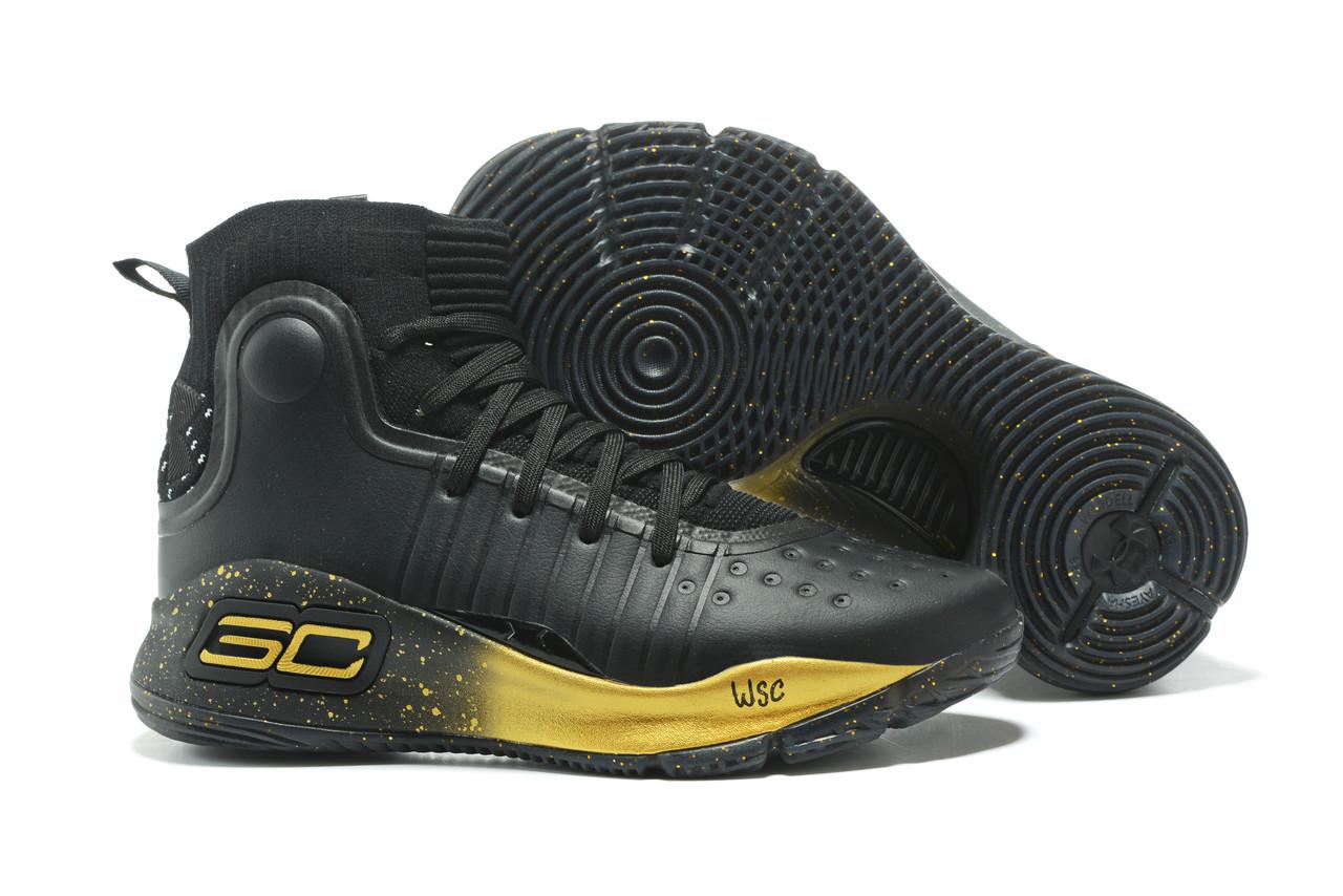 """Баскетбольные кроссовки Under Armour Curry IV """"Black/Gold"""" (36-46)"""
