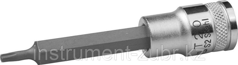"""Торцовая бита-головка KRAFTOOL """"INDUSTRIE QUALITAT"""", удлиненная, материал S2, TORX, сатинированная, 1/2"""", Т20                                         , фото 2"""
