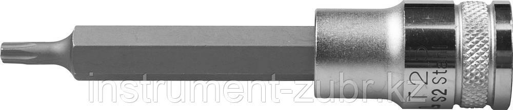 """Торцовая бита-головка KRAFTOOL """"INDUSTRIE QUALITAT"""", удлиненная, материал S2, TORX, сатинированная, 1/2"""", Т25"""