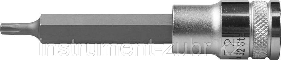 """Торцовая бита-головка KRAFTOOL """"INDUSTRIE QUALITAT"""", удлиненная, материал S2, TORX, сатинированная, 1/2"""", Т25                                         , фото 2"""