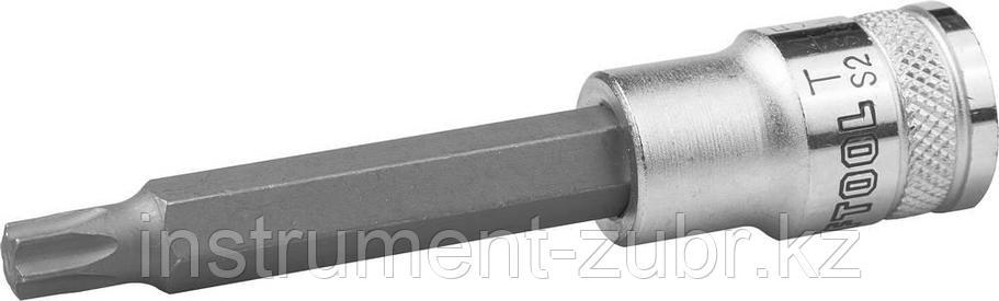 """Торцовая бита-головка KRAFTOOL """"INDUSTRIE QUALITAT"""", удлиненная, материал S2, TORX, сатинированная, 1/2"""", Т45                                         , фото 2"""