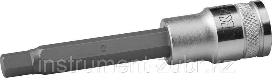 """Торцовая бита-головка KRAFTOOL """"INDUSTRIE QUALITAT"""", удлиненная, материал S2, HEX, сатинированная, 1/2"""", H8                                           , фото 2"""