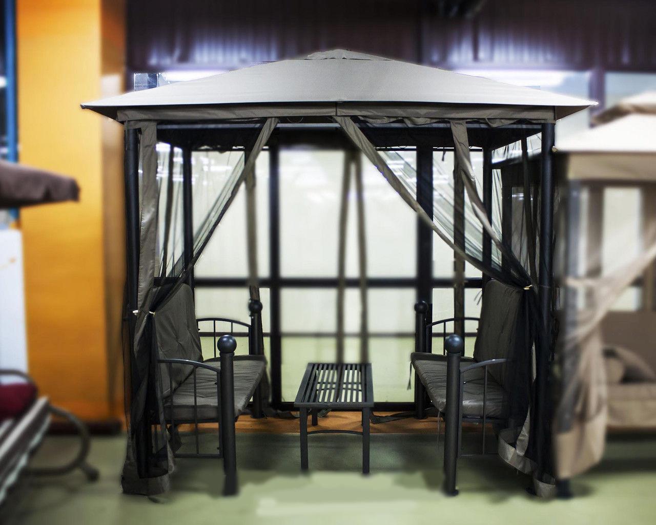 Комплект уличный две скамейки и столик в шатре
