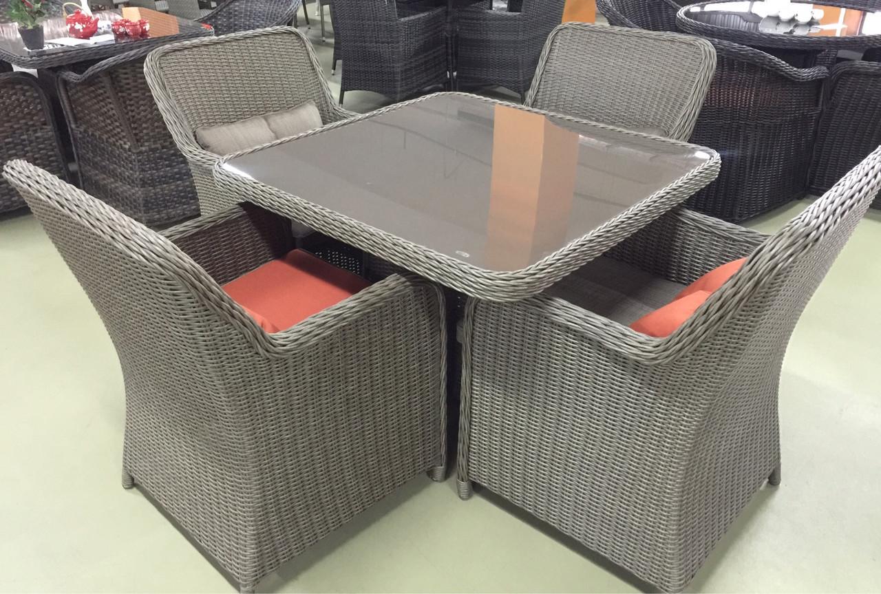 Комплект мебели из искусственного ротанга(бежевый с двух цветными подушками)