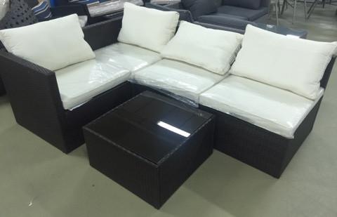 Комплект мебели из искусственного ротанга (коричневый с серыми подушками)