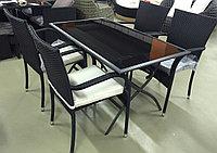 Комплект стол металлический с черным стеклом (складной) и 4 стула, фото 1