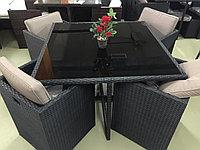 Стол+4 стула и 4 пуфа искусственный ротанг, фото 1