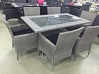 Стол и 6 кресел из искусственного ротанга (серый), фото 1