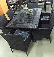Стол и 6 кресел из искусственного ротанга (коричневый), фото 1